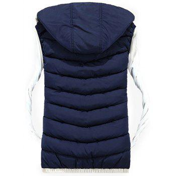 Zipper Up Detachable Hood Quilted Vest - PURPLISH BLUE 2XL