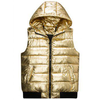 Zipper Up Metallic Color Hooded Quilted Vest - GOLDEN L