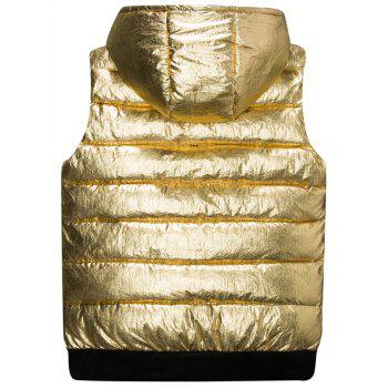 Zipper Up Metallic Color Hooded Quilted Vest - GOLDEN M