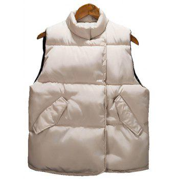 Asymmetrical Snap Button Up Padded Vest - BEIGE 3XL