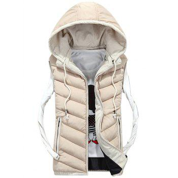 Zipper Up Detachable Hood Quilted Vest - OFF-WHITE L