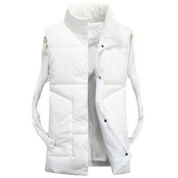 Funnel Collar Snap Button Padded Vest - WHITE 3XL