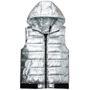 Zipper Up Metallic Color Hooded Quilted Vest - SILVER M