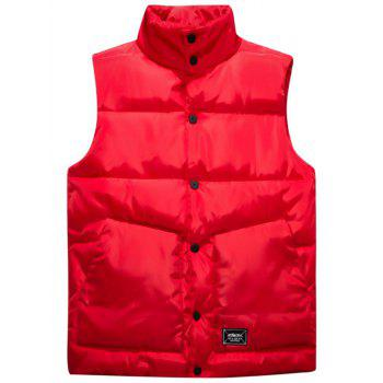 Snap Button Up Graphic Printed Quilted Vest - RED M