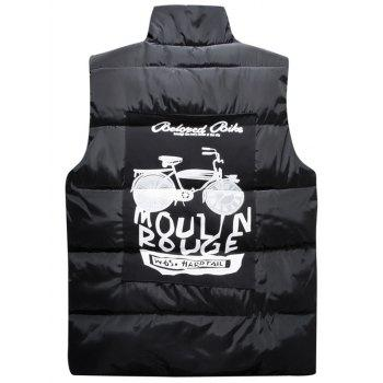 Snap Button Up Graphic Printed Quilted Vest - BLACK XL