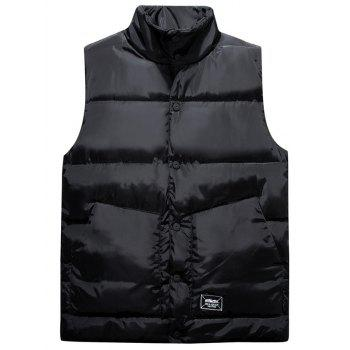 Snap Button Up Graphic Printed Quilted Vest - BLACK L