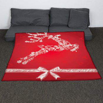 Christmas Snow Elk Pattern Coral Fleece Sofa Blanket - RED W59 INCH * L79 INCH