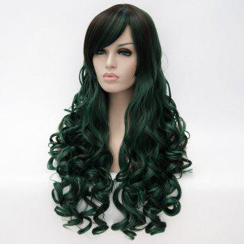 Long Side Bang Fluffy Curly Colormix Synthetic Party Wig - BLACKISH GREEN