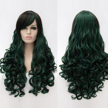Long Side Bang Fluffy Curly Colormix Synthetic Party Wig - BLACKISH GREEN BLACKISH GREEN