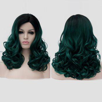 Medium Side Parting Shaggy Curly Colormix Synthetic Party Wig - BLACKISH GREEN BLACKISH GREEN