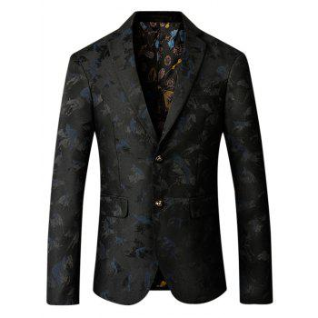 Riding Jacquard Single Breasted Blazer - PURPLISH BLUE XL