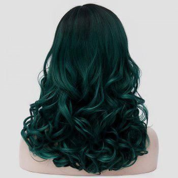 Medium Side Parting Shaggy Curly Colormix Synthetic Party Wig - BLACKISH GREEN