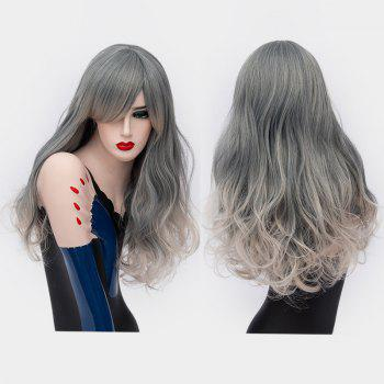 Long Side Bang Shaggy Curly Ombre Synthetic Party Wig - SMOKY GRAY SMOKY GRAY