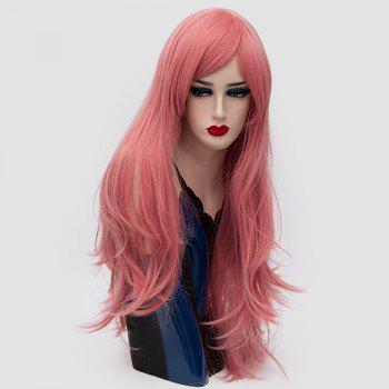 Long Inclined Fringe Layered Slightly Curly Synthetic Party Wig - PINK SMOKE