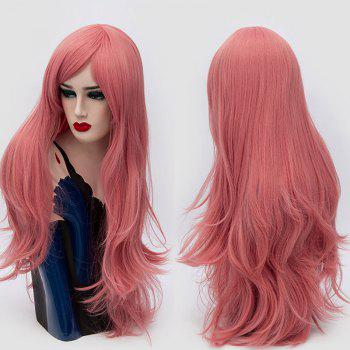 Long Inclined Fringe Layered Slightly Curly Synthetic Party Wig - PINK SMOKE PINK SMOKE