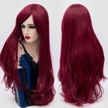 Long Inclined Fringe Layered Slightly Curly Synthetic Party Wig - PURPLISH RED PURPLISH RED