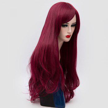 Long Inclined Fringe Layered Slightly Curly Synthetic Party Wig - PURPLISH RED