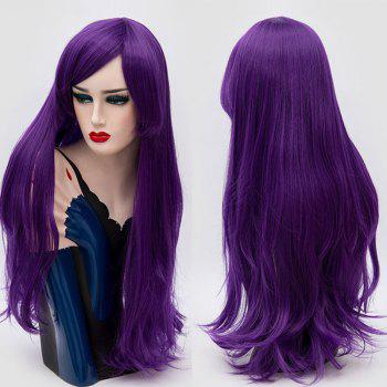 Long Inclined Fringe Layered Slightly Curly Synthetic Party Wig - PURPLE PURPLE