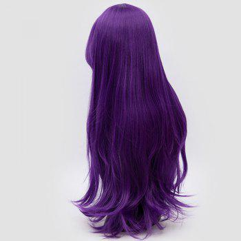 Long Inclined Fringe Layered Slightly Curly Synthetic Party Wig -  PURPLE