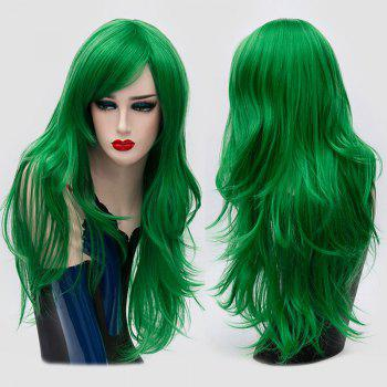 Long Inclined Bang Layered Slightly Curly Synthetic Party Wig - GREEN GREEN