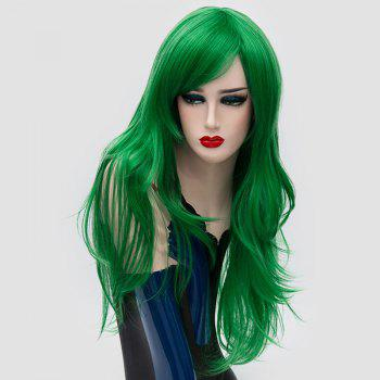 Long Inclined Bang Layered Slightly Curly Synthetic Party Wig -  GREEN