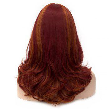 Medium Layered Side Bang Highlighted Slightly Curly Synthetic Party Wig -  DARK AUBURN