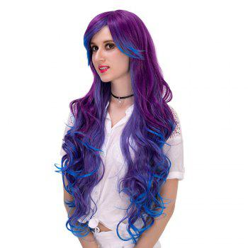 Long Side Fringe Layered Curly Synthetic Colormix Party Wig - VIOLET BLUE