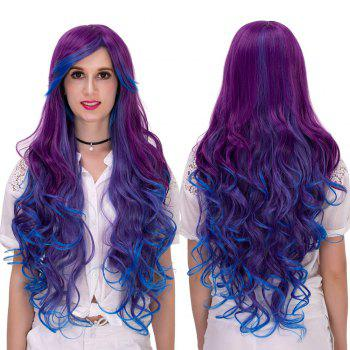 Long Side Fringe Layered Curly Synthetic Colormix Party Wig - VIOLET BLUE VIOLET BLUE