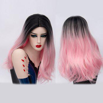 Long Ombre Middle Part Natural Straight Synthetic Party Wig - PINK PINK