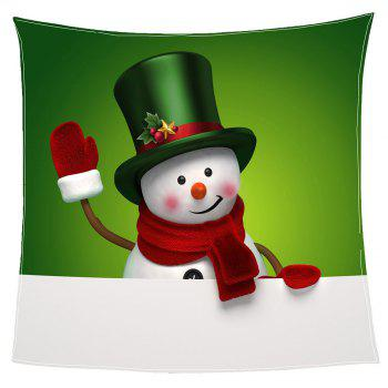 Christmas Smiling Snowman Print Coral Fleece Blanket - GREEN/WHITE GREEN/WHITE