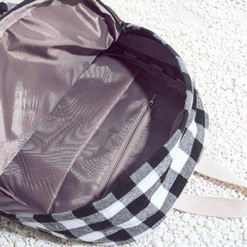 Canvas Plaid School Backpack - BLACK