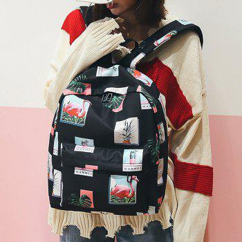 Patchwork Print Backpack -  BLACK