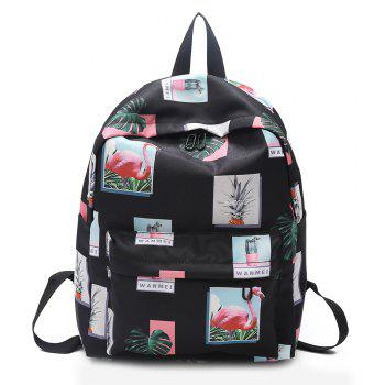 Patchwork Print Backpack - BLACK BLACK