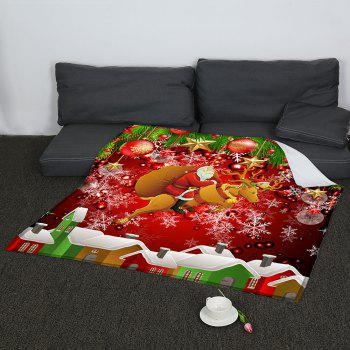 Coral Fleece Santa Claus and Baubles Pattern Blanket - COLORFUL W59INCH*L70INCH