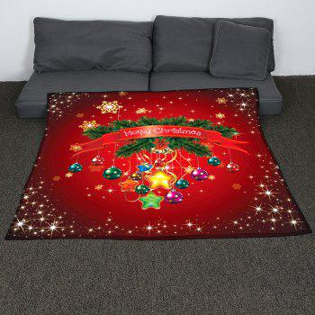 Coral Fleece Christmas Baubles Pattern Blanket - RED W47INCH*L59INCH