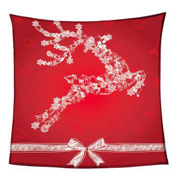 Christmas Snow Elk Pattern Coral Fleece Sofa Blanket - RED W59INCH*L70INCH