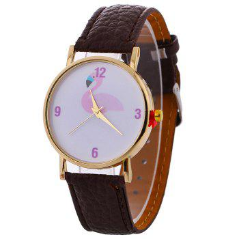 Flamingo Face Faux Leather Watch - BROWN BROWN