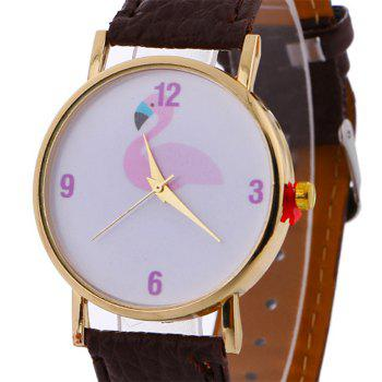 Flamingo Face Faux Leather Watch - BROWN