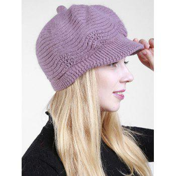 Wave Shape Knitted Newsboy Hat - LIGHT PURPLE