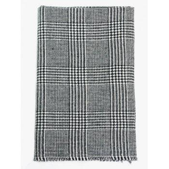 Houndstooth Plaid Pattern Fringed Long Scarf - BLACK WHITE