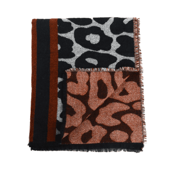 Leopard Printed Fringed Long Thicken Scarf -  BLACK LEOPARD PRINT
