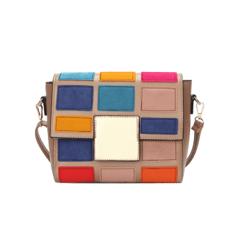 Contrasting Color Plaid Crossbody Bag - PINK
