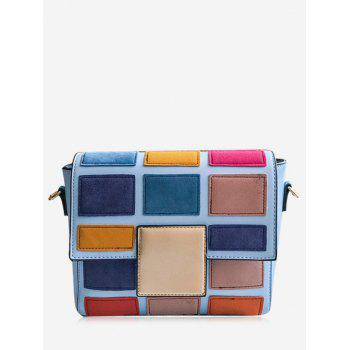 Contrasting Color Plaid Crossbody Bag - BLUE BLUE