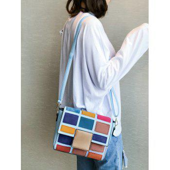 Contrasting Color Plaid Crossbody Bag -  BLUE