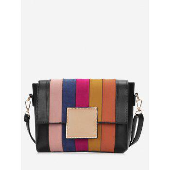 Contrasting Color Plaid Crossbody Bag - BLACK AND ORANGE BLACK/ORANGE
