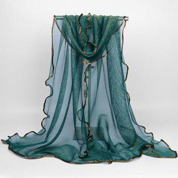 Golden Brim Embellished Chiffon Long Scarf -  BLACKISH GREEN