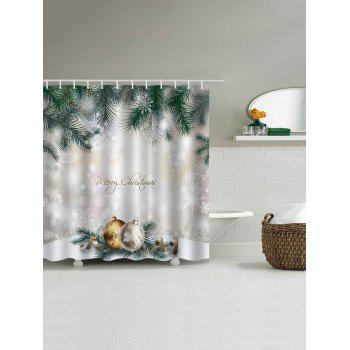 Christmas Pine Baubles Print Fabric Waterproof Shower Curtain - COLORMIX W71 INCH * L79 INCH