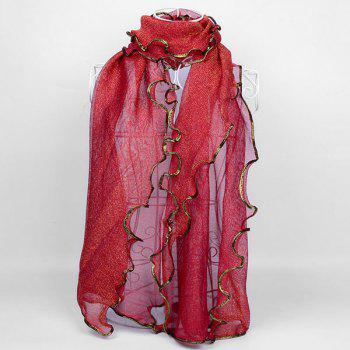 Golden Brim Embellished Chiffon Long Scarf - RED RED
