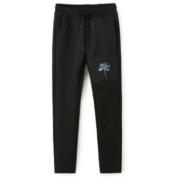 3D Lotus Print Sweatshirt and Pants Twinset - Noir 5XL