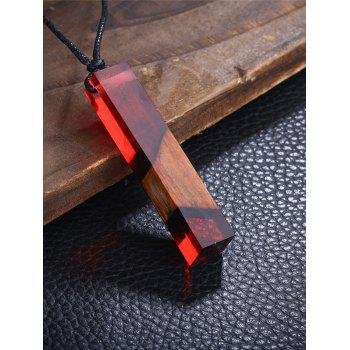 Wood Resin Geometric Pendant Necklace - RED RED